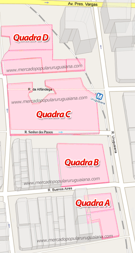 Mapas das Quadras do Mercado Popular da Uruguaiana